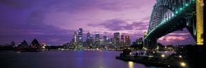 Port Jackson, Sydney Harbor and Bridge Night, Sydney, Australia