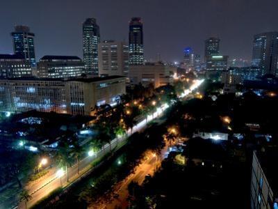 Cityscape at Night, Jakarta, Indonesia, Southeast Asia