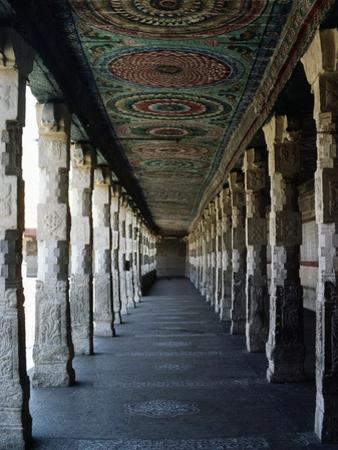 Portico with Columns and Ornate Ceiling, Meenakshi Temple, Madurai, Tamil Nadu, India, 17th Century