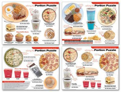 Portion Puzzle Educational Laminated Poster Set of 4
