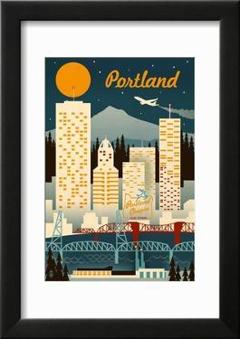 Portland  Oregon - Retro Skyline