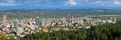 Portland skyline from Pittock Mansion, Multnomah County, Oregon, USA