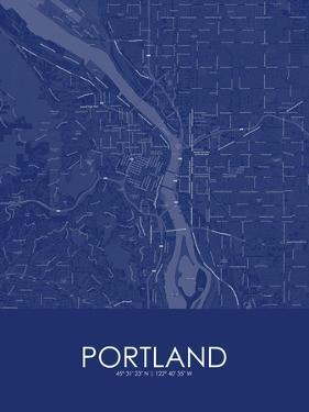 Portland, United States of America Blue Map