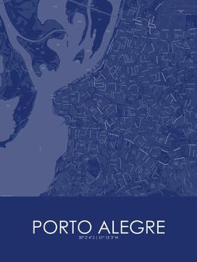 Porto Alegre, Brazil Blue Map