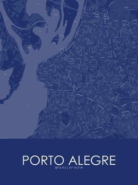 Porto Alegre, Brazil Blue Map