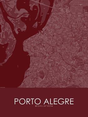 Porto Alegre, Brazil Red Map