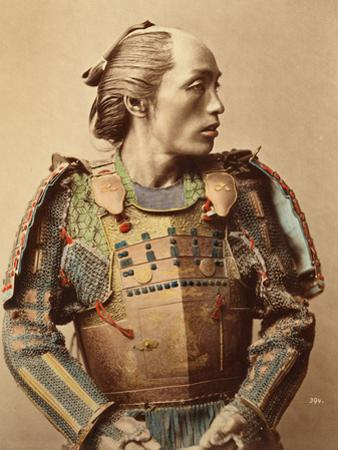 Portrait of a Samurai of Old Japan Armed with Full Body Armour, 1890 (Hand Coloured Albumen Photo)