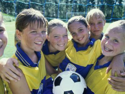 Portrait of a Smiling Girls Soccer Team