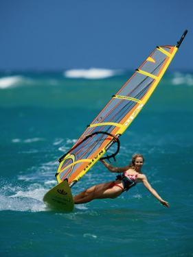 Portrait of a Young Woman Windsurfing