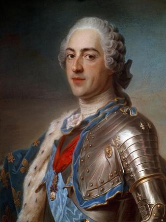 Portrait of Louis XV (1710-1774) in Armor - by Quentin Delatour
