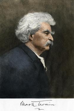 Portrait of Samuel Clemens, with His Mark Twain Autograph