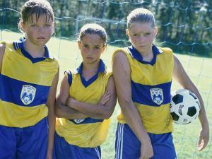 Portrait of Three Girls on a Soccer Team
