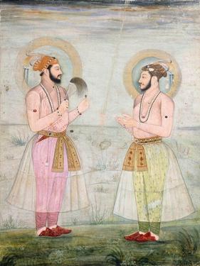 Portraits of Prince Dara Shikoh and Prince Sulaiman Shikoh Nimbate, C.1665 (Gouache on Parchment)