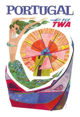 Portugal Fly TWA - Trans World Airlines - Mermaid Windmill