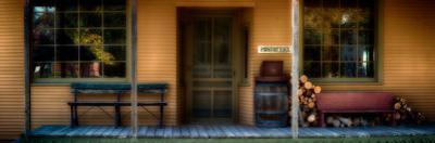 Post office porch at historic Stonefield village near Cassville, Wisconsin, USA