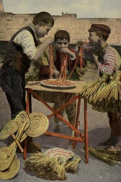 Postcard Depicting Children Eating Spaghetti in Naples