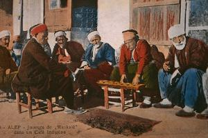 Postcard Depicting Mancala Players in a Cafe at Aleppo, Syria, C.1920