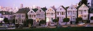 Postcard Row Houses in City, Seven Sisters, Painted Ladies, Alamo Square, San Francisco, California