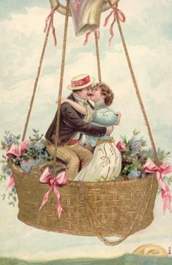 Postcard with Couple Kissing in Hot Air Balloon