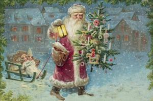 Postcard with Santa Claus Holding a Christmas Tree