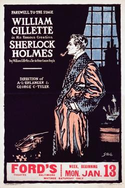 Poster Advertising a Production of Sherlock Holmes Starring William Gillette
