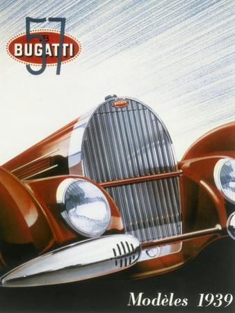 Poster Advertising Bugatti Cars, 1939