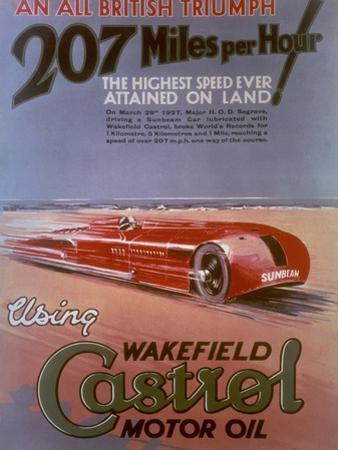 Poster Advertising Castrol, Featuring a Sunbeam Car, C1927