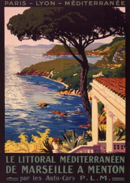 Poster Advertising French Railways to Mediterranean Coast