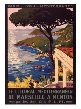 Poster Advertising French Railways to Mediterranean Coast