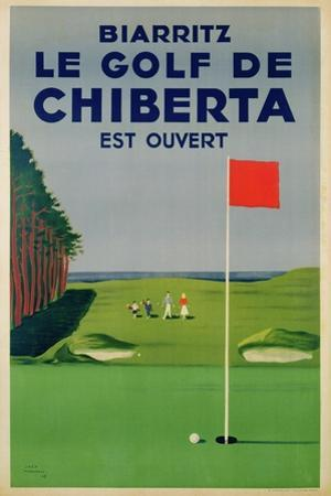 Poster Advertising Golfing Holidays in Biarritz, 1948
