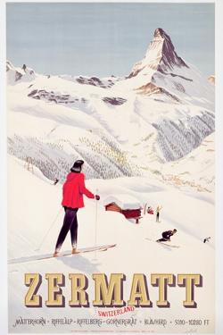 Poster Advertising Holidays in Zermatt, 1947