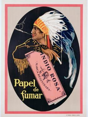 Poster Advertising 'Indio Rosa' Cigarette Papers, C.1925