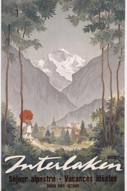 Poster Advertising Interlaken as a Holiday Destination, C.1930