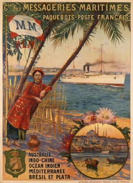 Poster Advertising Messageries Maritimes