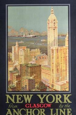 Poster Advertising New York from Glasgow by the 'Anchor Line'