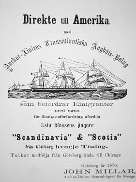 Poster Advertising Passage from Gothenburg to Chicago, 1870