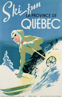 Poster Advertising Skiing Holidays in the Province of Quebec, c.1938