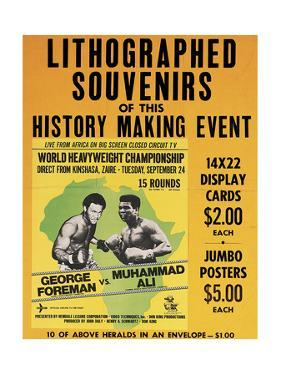 Poster Advertising Souvenirs from the Muhammad Ali Vs. George Foreman Fight in Zaire, 1974
