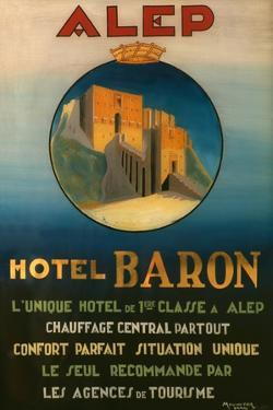 Poster Advertising the Baron Hotel in Aleppo, C.1920