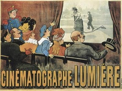 Poster Advertising the Lumiere Cinematographe, Grand Café in Paris