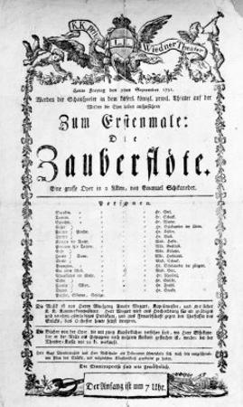 """Poster Advertising the Premiere of """"The Magic Flute"""" by Mozart at the Freihaustheater, 1791"""