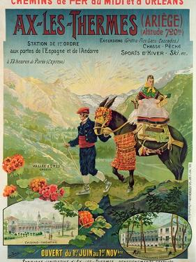 Poster Advertising the Ski Resort of Ax-Les-Thermes, France, C.1900