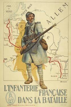 Poster Depicting a French Infantry Soldier, Holding a Rifle. a Map Of Europe Behind Him