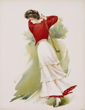 Poster Depicting a Woman Playing Golf by Maud Stumm