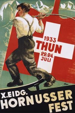 """Poster for 1933 """"Hornusser Fest"""" in Thun, Switzerland"""