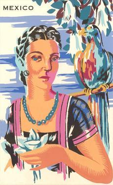 Poster for Mexico, Lady with Parrot