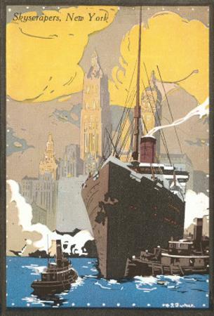 Poster of Ocean Liner, Skyscrapers, New York City