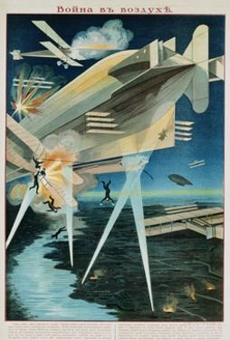 Poster of Russian Biplanes and Zeppelin