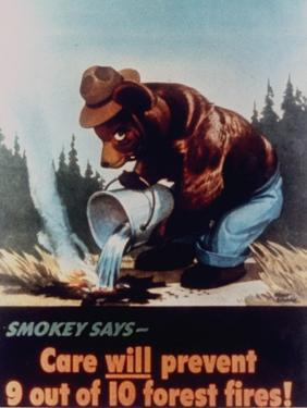 """Poster of Smokey the Bear Putting Out a Forest Fire, """"Care Will Prevent 9 Out of 10 Forest Fires!"""""""