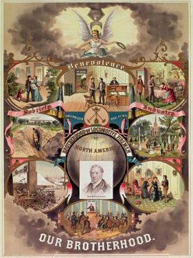 Poster of the 'Brotherhood of Locomotive Firemen of North America', 1885